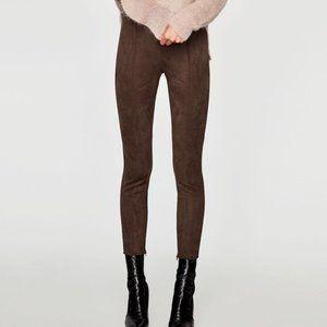 Zara Faux Brown Suede Legging Pants